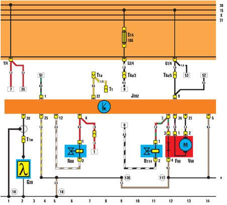 F60 - датчик положения дроссельной заслонки на холостом ходу; G39 - лямбда-зонд; J202 - блок управления...